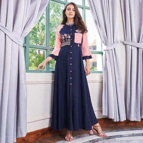 Imposing Navy Blue Colored Party Wear Embroidered Rayon Long Kurti