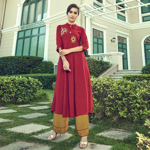 Impressive Red Colored Partywear Embroidered Cotton Kurti-Palazzo Set