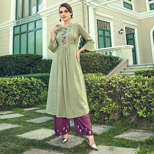 Mesmerising Light Olive Green Colored Partywear Embroidered Cotton Kurti-Palazzo Set