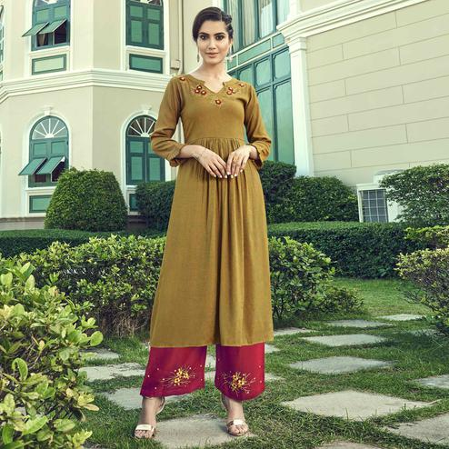 Pleasance Chrome Yellow Colored Partywear Embroidered Cotton Kurti-Palazzo Set