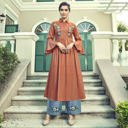 Ethnic Rust Orange Colored Partywear Embroidered Cotton Kurti-Palazzo Set