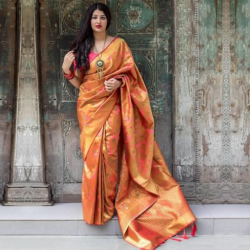 Gorgeous Orange Colored Festive Wear Woven Silk Saree