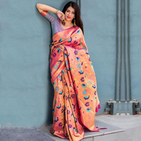 Imposing Peach Colored Festive Wear Woven Silk Saree