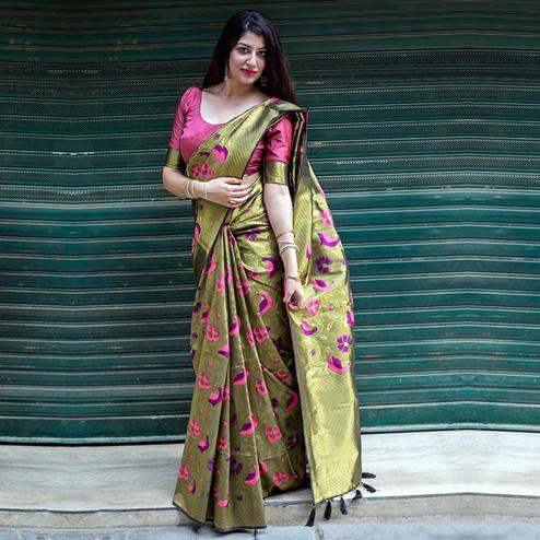 Lovely Olive Green Colored Festive Wear woven Silk Saree