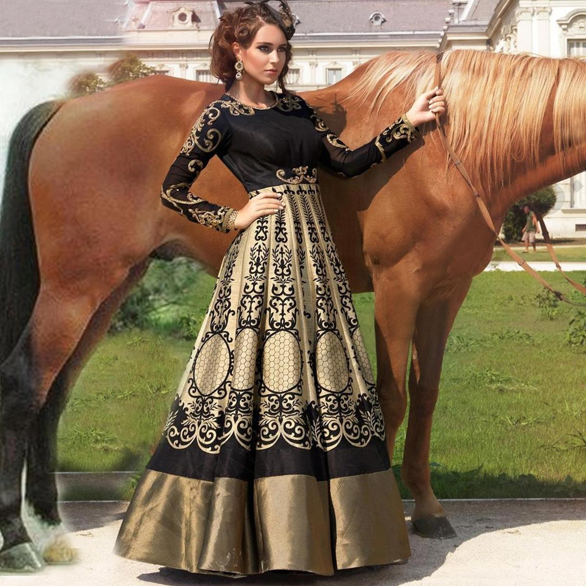 Black - Golden Gown Style Designer Suit