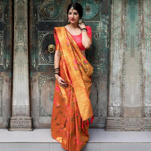 Gleaming Orange Colored Festive Wear Woven Silk Saree