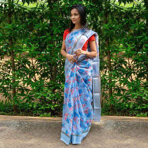 Intricate Blue Colored Casual Wear Floral Printed Linen Saree
