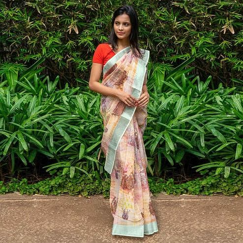 Arresting Light Yellow Colored Casual Wear Printed Linen Saree