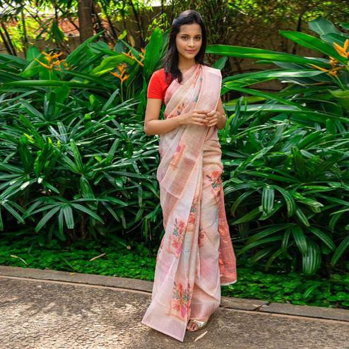 Desirable Light Peach Colored Casual Wear Floral Printed Linen Saree