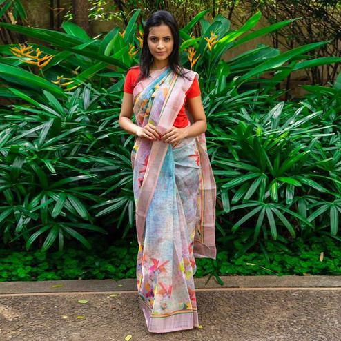 Exotic Blue Colored Casual Wear Printed Linen Saree