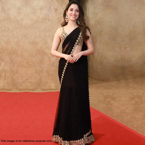 Pleasance Black Colored Partywear Embroidered Georgette Saree