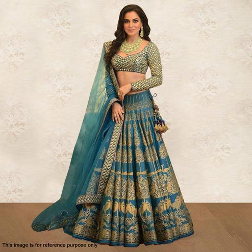 Breathtaking Blue Colored Partywear Digital Printed Silk Lehenga Choli
