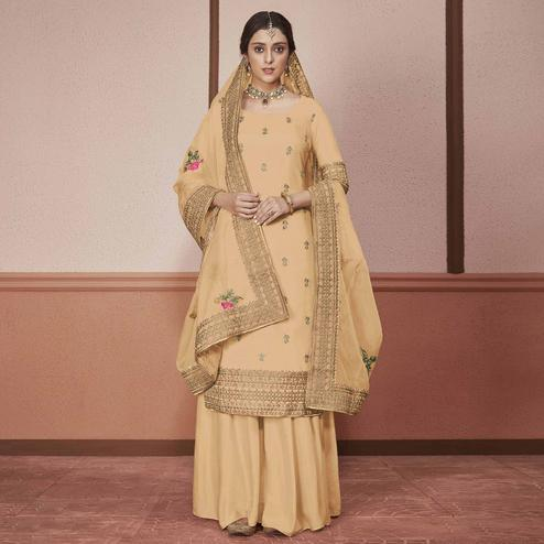 Innovative Light Brown Colored Partywear Embroidered Silk Palazzo Suit