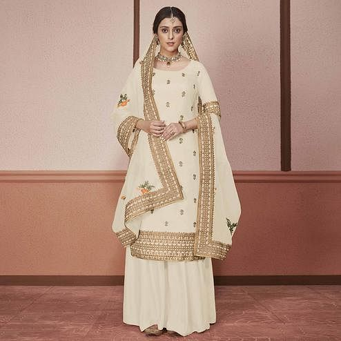 Eye-catching Cream Colored Partywear Embroidered Silk Palazzo Suit