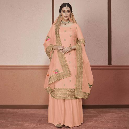 Fantastic Peach Colored Partywear Embroidered Silk Palazzo Suit