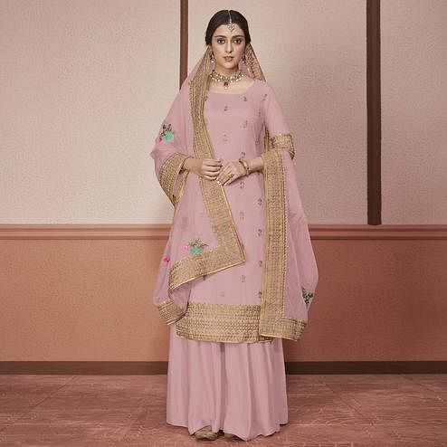 Amazing Pink Colored Partywear Embroidered Silk Palazzo Suit