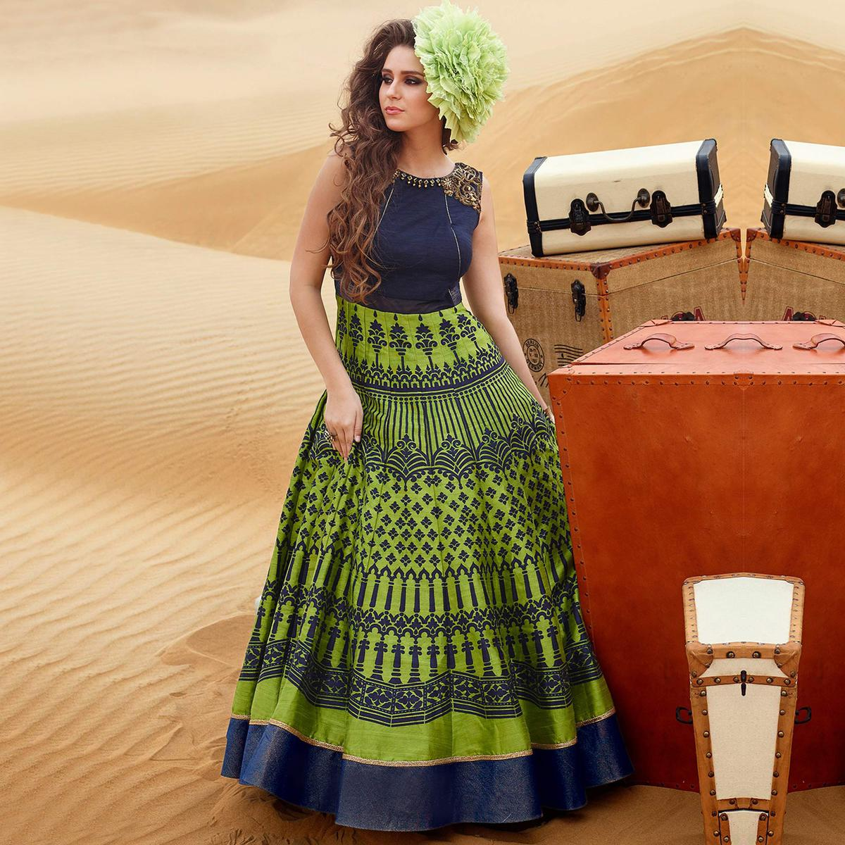 Blue - Green Gown Style Anarkali Suit