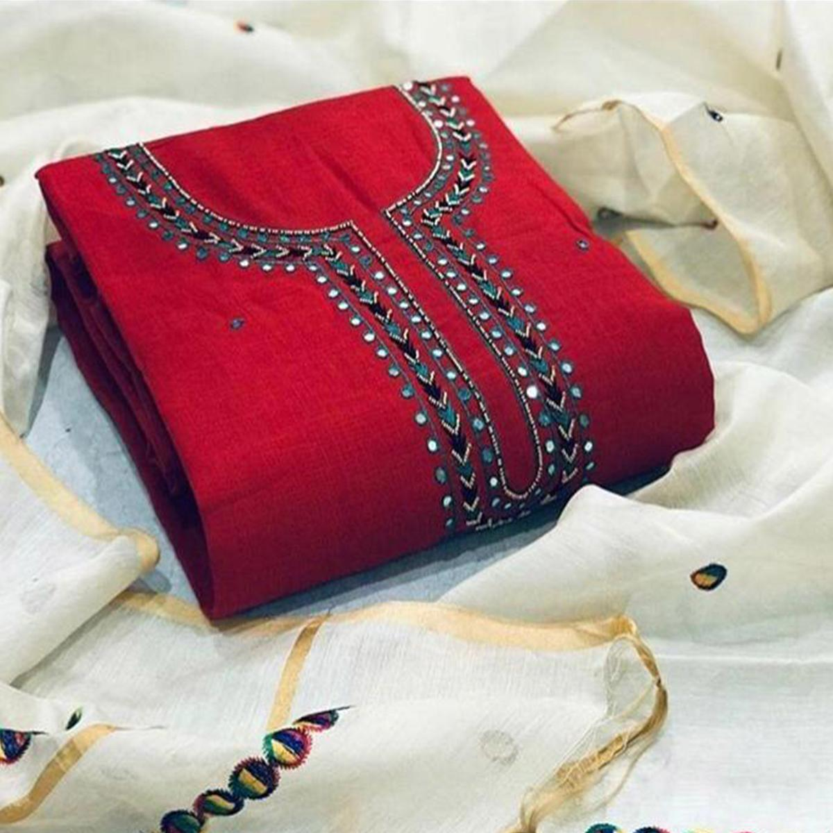 Buy Magnetic Red Colored Partywear Embroidered Cotton Dress Material For Women S Wear Online India Best Prices Affordable Prices Best Price Online Reviews Peachmode