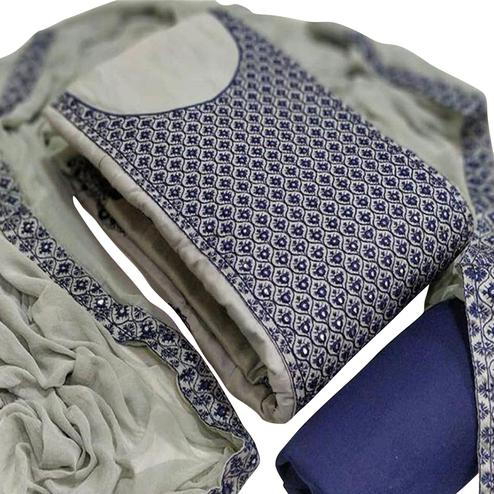 Flamboyant Grey Colored Partywear Embroidered Cotton Dress Material