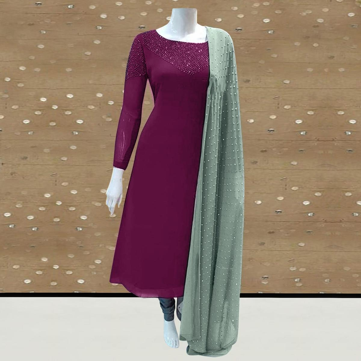 Intricate Purple Colored Partywear Diamond Work Stitched Georgette Churidar Suit