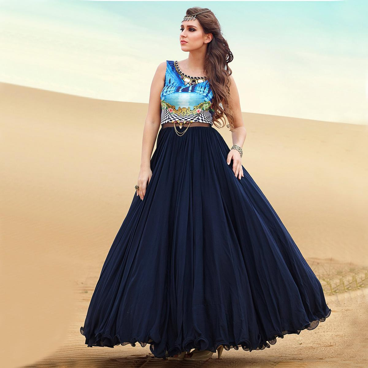 Dark Blue Digital Print Work Gown Anarkali