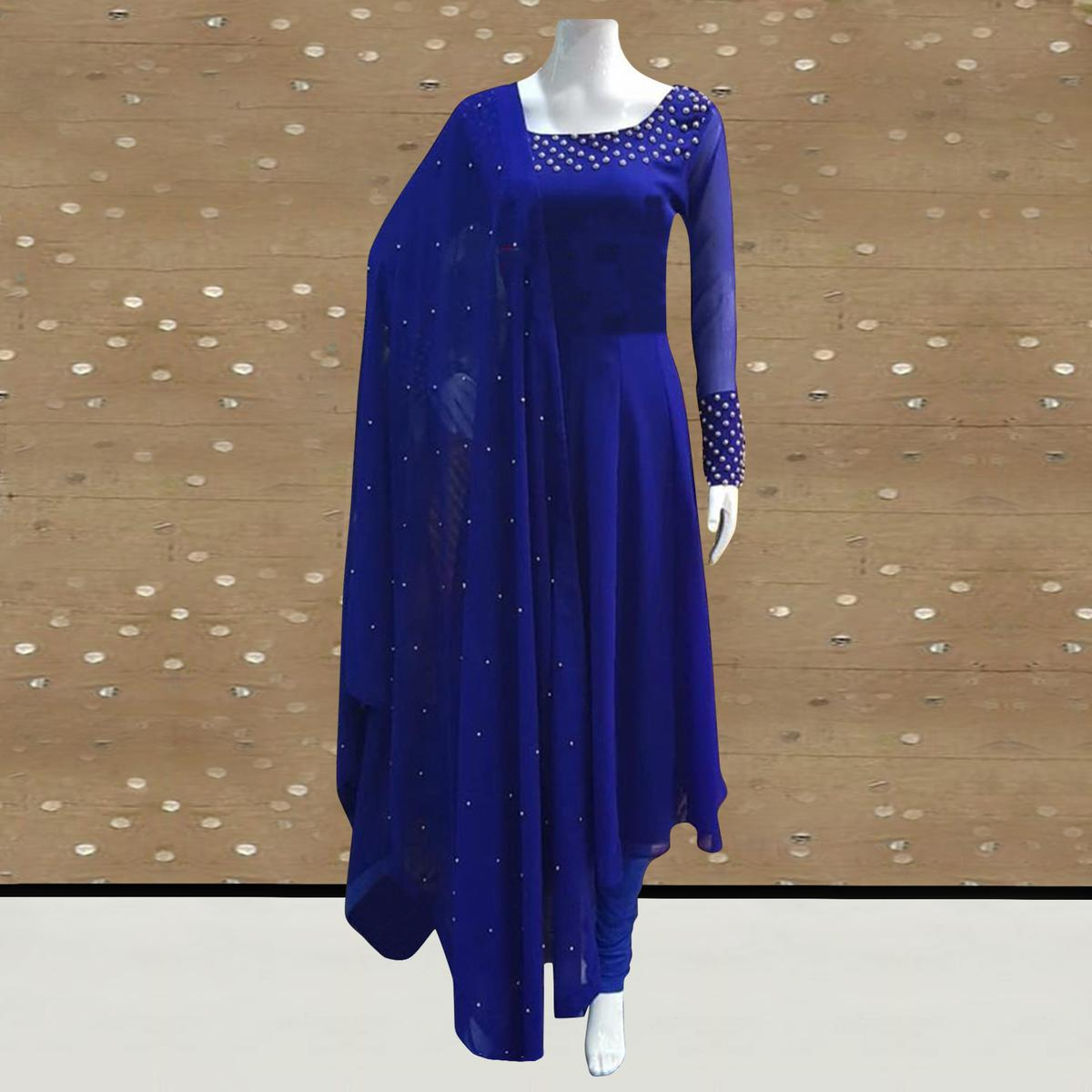 Buy Exotic Royal Blue Colored Partywear Pearl Work Stitched Georgette Churidar Suit For Women S Wear Online India Best Prices Affordable Prices Best Price Online Reviews Peachmode