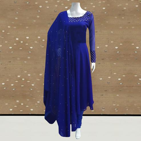 Exotic Royal Blue Colored Partywear Pearl Work Stitched Georgette Churidar Suit