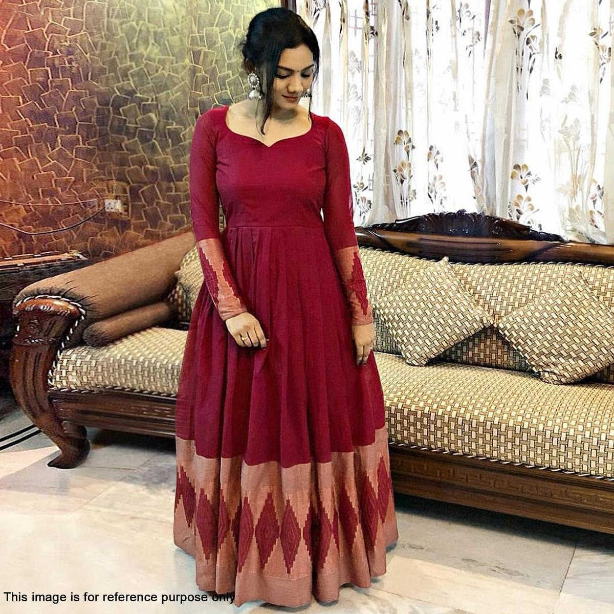 Glowing Maroon Colored Partywear Printed Rayon Gown