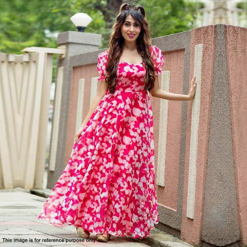 Entrancing Pink Colored Partywear Printed Georgette Gown