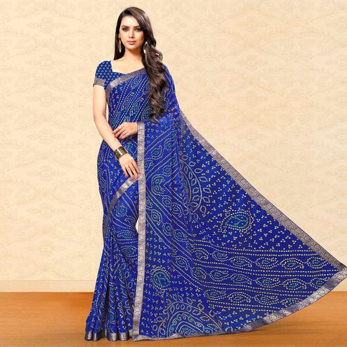 Intricate Blue Colored Party Wear Bandhani Printed Chiffon Saree