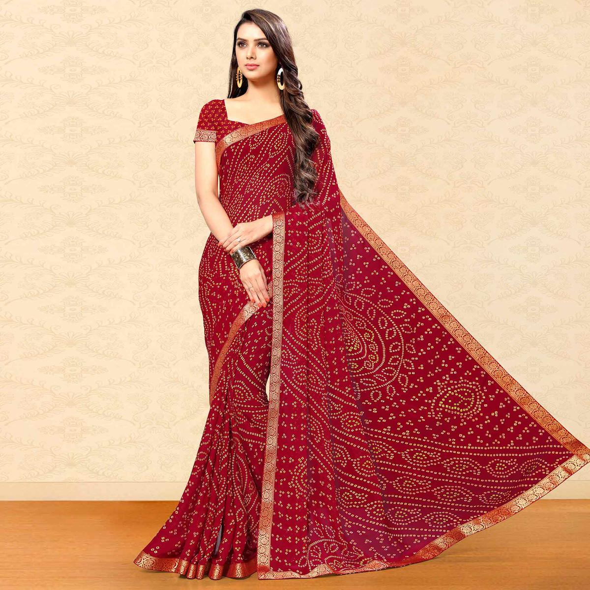 Arresting Maroon Colored Party Wear Bandhani Printed Chiffon Saree