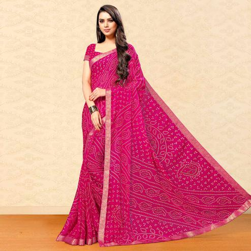 Exotic Pink Colored Party Wear Bandhani Printed Chiffon Saree