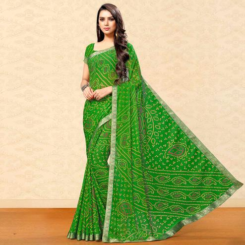 Sophisticated Green Colored Party Wear Bandhani Printed Chiffon Saree