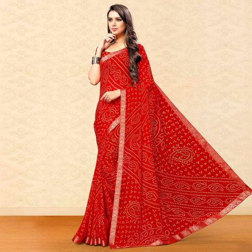 Trendy Red Colored Party Wear Bandhani Printed Chiffon Saree
