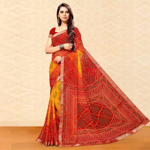 Elegant Yellow-Red Colored Party Wear Bandhani Printed Chiffon Saree