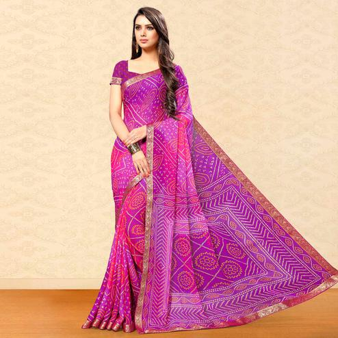 Radiant Purple Colored Party Wear Bandhani Printed Chiffon Saree