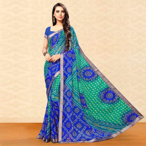 Pleasant Blue-Green Colored Party Wear Bandhani Printed Chiffon Saree