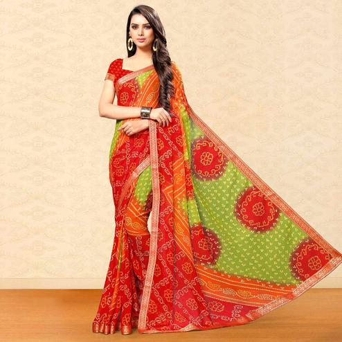 Opulent Green-Red Colored Party Wear Bandhani Printed Chiffon Saree