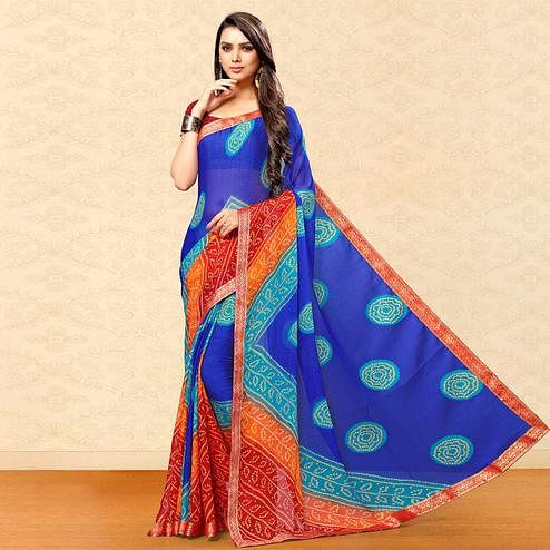 Energetic Blue Colored Party Wear Bandhani Printed Chiffon Saree