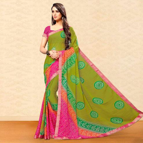 Glowing Green Colored Party Wear Bandhani Printed Chiffon Saree