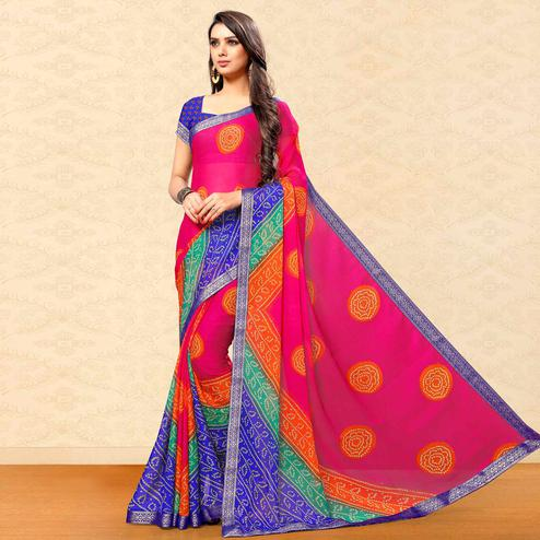 Exceptional Pink Colored Party Wear Bandhani Printed Chiffon Saree