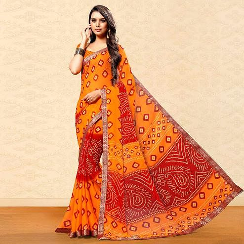 Gleaming Orange Colored Party Wear Bandhani Printed Chiffon Saree