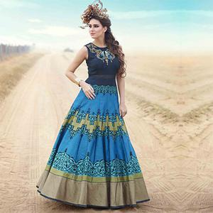 Blue Pure Bhagalpuri Digital Print Work Suit