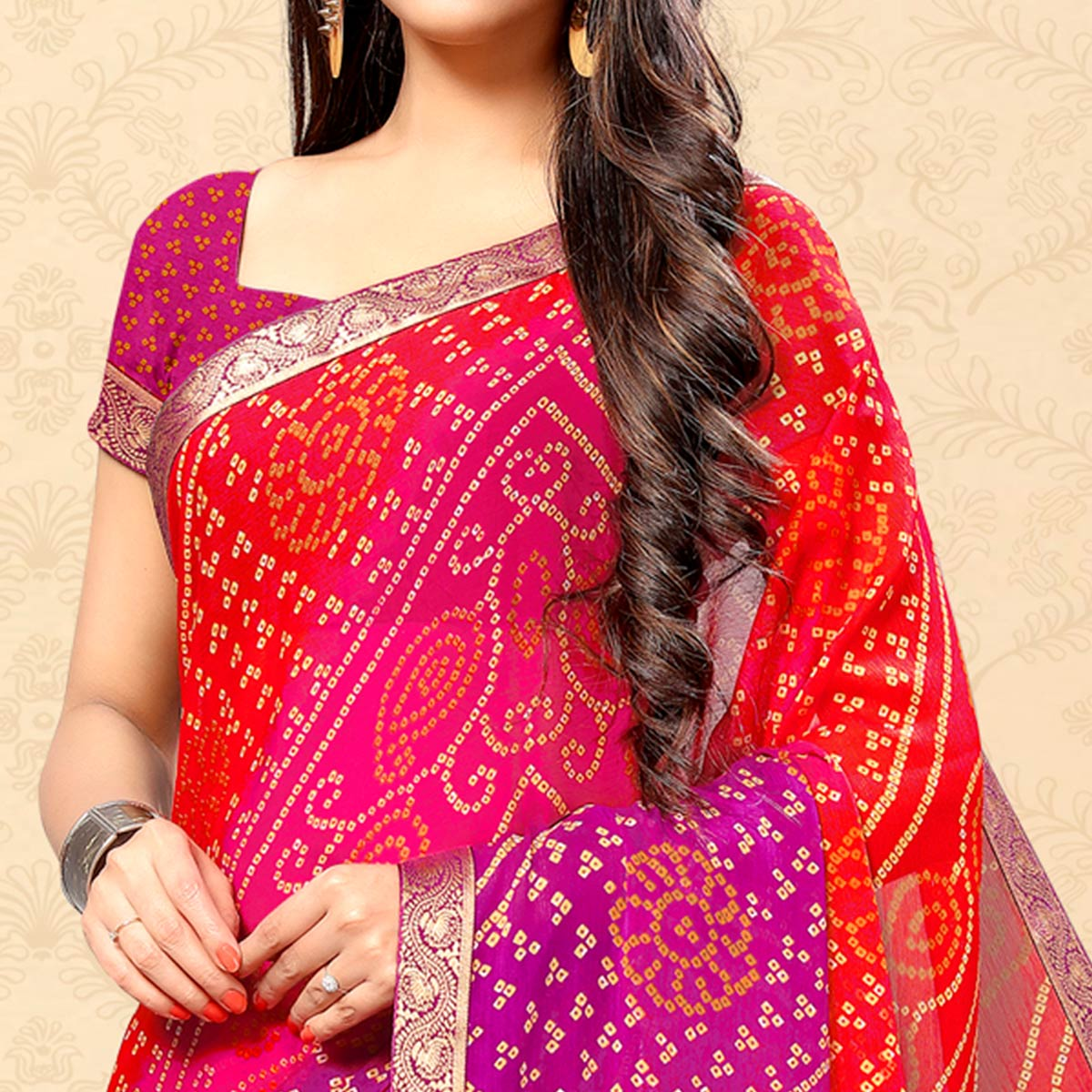 Blissful Red-Pink Colored Party Wear Bandhani Printed Chiffon Saree