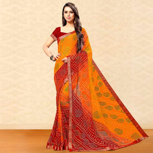 Ideal Yellow-Maroon Colored Party Wear Bandhani Printed Chiffon Saree