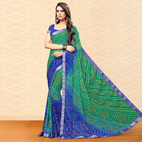 Amazing Green-Blue Colored Party Wear Bandhani Printed Chiffon Saree