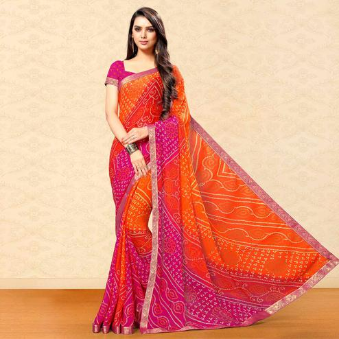 Innovative Orange-Pink Colored Party Wear Bandhani Printed Chiffon Saree