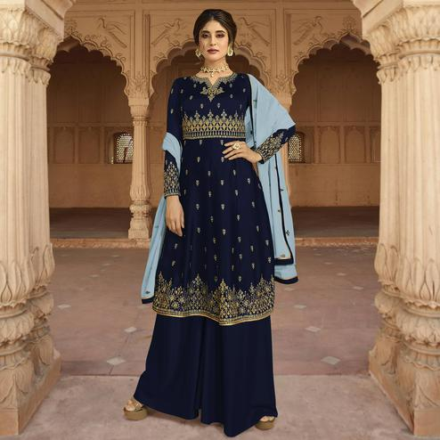 Exotic Navy Blue Colored Partywear Embroidered Georgette-Satin Palazzo Suit