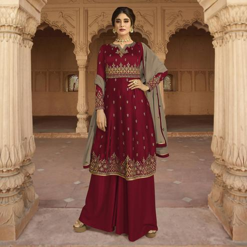 Sophisticated Maroon Colored Partywear Embroidered Georgette Palazzo Suit