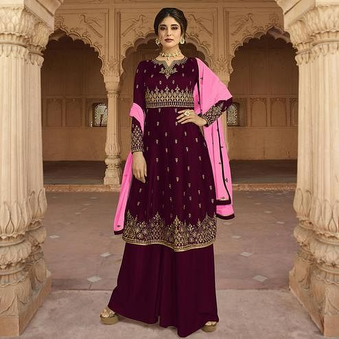 Radiant Wine Colored Partywear Embroidered Georgette Palazzo Suit